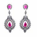 Markasite Pink Drop Earring