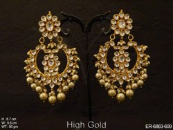 Full Stone Chand Bali Polki Earrings