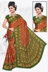 Silk Formal Wear Woman Printed saree, 6 m (with blouse piece)