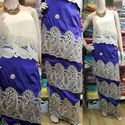Blue, Off White Embroidered Stylish George Fabric