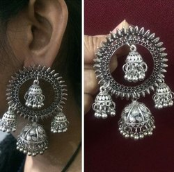 Afghani Oxidized Silver Statement Circle Earring with 4 Jhumki