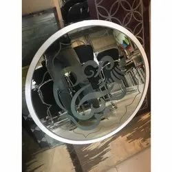 Glass Round Decorative Mirror, Thickness: 10-30mm