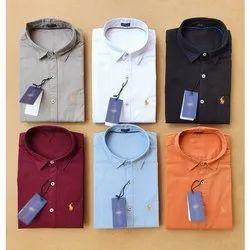 Collar Neck Men Plain Cotton Shirt, Dry clean