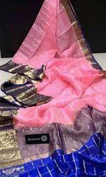 Banarasi Kora Silk Zari Check Sarees