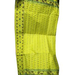 Festive Wear Ladies Yellow Cotton Printed Saree, 5.2 m, With Blouse Piece