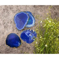 Fossilina Blue Agate Stone Slices, Packaging Type: Box, For Decoration