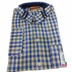 Summer PC Checkered School Uniform Shirt, Size: 22 to 42