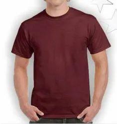 Plain Maroon Round Neck T Shirts