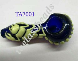 T.A.GLASS BEADS Art Glass work Glow in the Scorpion Pipe, Packaging Type: 1 Pcs