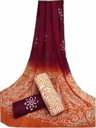 Hand Mom Wax Batik Cotton Suit With Chiffon Dupatta