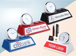 Table Clock with Pen and Card Holder
