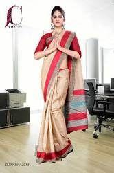 Red and Beige Tripura Cotton Uniform Saree