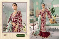 Red Semi-Stitched Designer Heavy Net Embroidered Pakistani Suit
