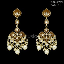 Fusion Meenakari Kundan Hanging Earrings