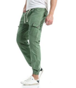 Mens Green Pocket Drawstring Casual Pants