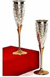 Silver Plated Goblet Flute Wine Glass Item