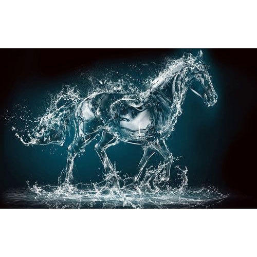 PVC And Vinyl 3D Water Drop Horse Wallpaper