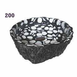 Black & White Antique Oracle Pebbles Wood Art Basins