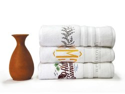 White 100% Cotton Promotional Towel, Size: 73x146cms