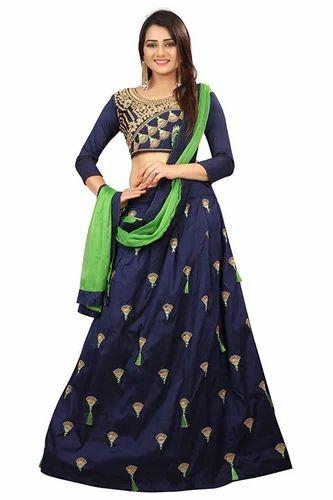 5c3b7880b60 Jay Varudi Creation Navy Blue Varudi Fashion Women  s Taffeta Silk  Embroidered Semi-Stiched
