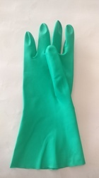 Powder Free Green Chemical Protection Nitrile Hand Gloves, Size: 6-10