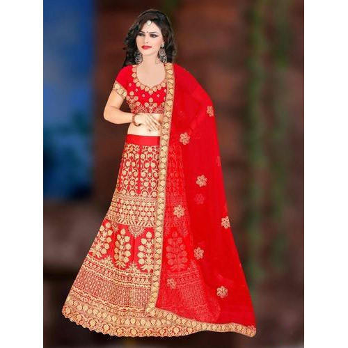 afe22a72c4fc2 Bridal Nylon Saturn Red Designer Lehenga Choli