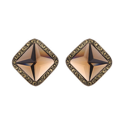 Imported Brown Crystal Stone Studded Earring
