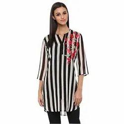 Printed Cotton Striped Tunic Short Kurti