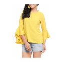 Medium And Large Yellow Crepe Top