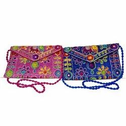 Cotton Handmade Embroidery Rajasthani Gujarati Sling/Clutch Bag