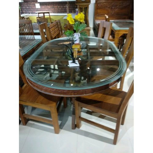 Oval Table Brown Wooden Dining Table Set For Home Rs 24000 Set Id 21465001297