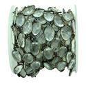 Crystal Quartz Black Oxidized Gemstone Bezel Set Chain