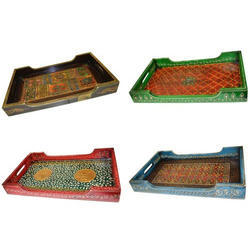Pushpam Arts Rectangle Wooden Hand Painted Tray, for Home, Size (inches): 9 X 15