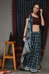Bagru Hand Block Printed Cotton Silk Saree