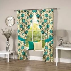 Abstract Leafy Blue Curtain