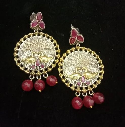 Brass Red Two Tone Oxidized Earring, Packaging Type: Box