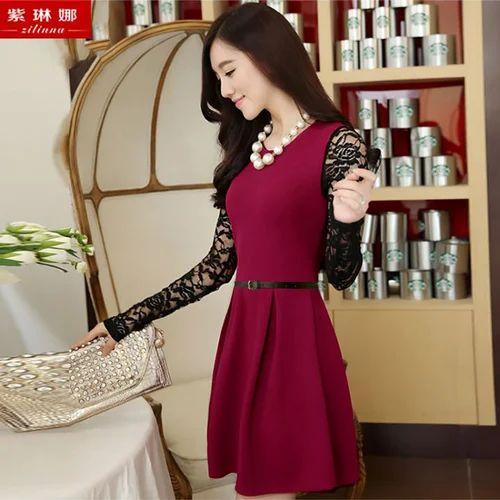 27c757537b Maroon Rasal And Hosiery Skater Dresses, Rs 399 /piece, Tfunny ...