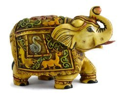 Handmade Handpainted Elephant Resin Figurine