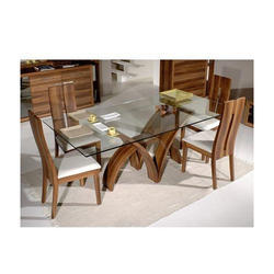 Brown Wooden Glass Dining Table, 6 Chairs And 1 Table