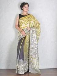 Mehendi Green & Grey Batik Pure Silk Saree (Product no 3823)