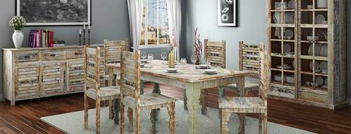 8 Seater Rustic Reclaimed Wood Dining Room Set Rs 123 Set Id