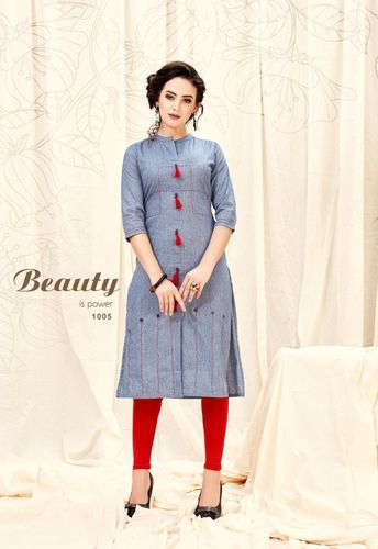 Cotton Ladies 3 4th Sleeve Jacket Style Kurti Size M L Rs 430