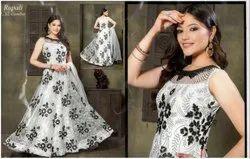 Black & White Women Anarkali Gown