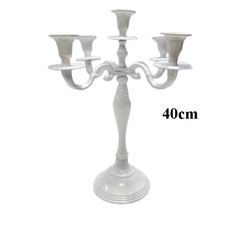 Candle Holder Candelabra 5 arm in White Finish