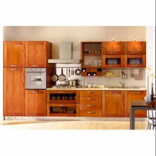 Brown Plywood Teak Wood Modular Kitchen