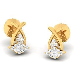 Classic Designed Diamond Gold Earring