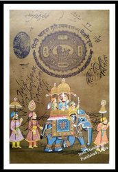 100 % Handmade Fine Stamp painting, Indu Handicrafts, Size: Regular Size