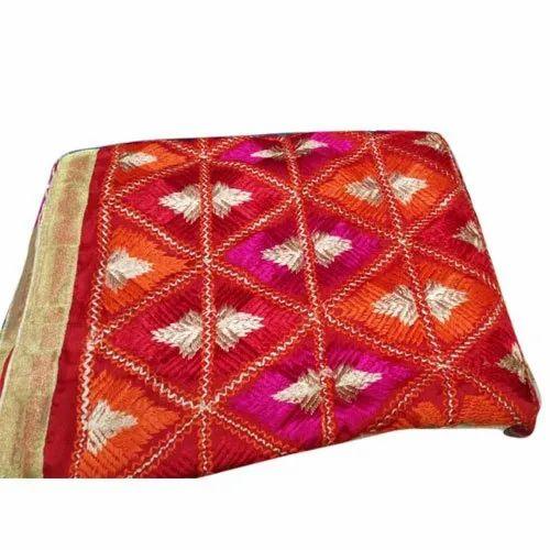 Embroidered Ladies Chiffon Phulkari Dupatta