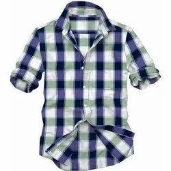Collar Neck Checkered Men Party Wear Cotton Shirts, Size: S-XL
