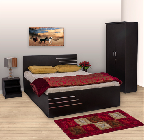 Bharat Lifestyle Amsterdam Bedroom Set With Storage Queen Bed Plus Wardrobe Side Table